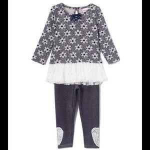 Nannette Matching Sets - Nannette Navy Floral Peplum Top & Legging Set